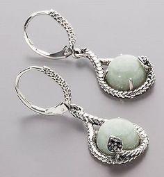 X942 Ohrhänger 925er Silber oxidiert Jade grün Spinell