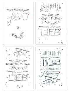 12 mixed Christmas cards - set in black white calligraphy design Christmas sayings with 4 motifs, each 3 postcards - Postcards Mix for Christmas with handlettering sayings. Christmas Quotes, Christmas Greeting Cards, Christmas Diy, Christmas Design, Xmas, Christmas Presents For Men, Postcard Format, Diy Crafts To Do, Happy Party