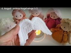 Angel wings crochet tutorial with english pattern subtitle Angel Crochet Pattern Free, Crochet Dolls Free Patterns, Dishcloth Knitting Patterns, Crochet Motif, Knit Dishcloth, Crochet Fairy, Crochet Angels, Crochet Christmas Decorations, Christmas Crochet Patterns