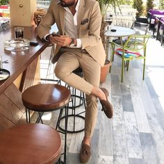 Tan casual suit for men by @ mensrealm Mens Fashion Suits, Mens Suits, Tan Suit Men, Fashion Mode, Fashion Outfits, Vest Outfits, Paris Fashion, Fashion Fashion, Runway Fashion