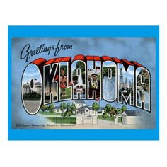 Greetings From Oklahoma Postcard - postcard post card postcards unique diy cyo customize personalize