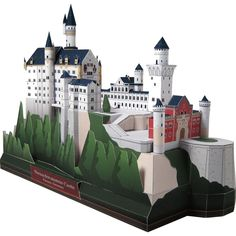 The Swan Castle Papercraft Model The real Swan Castle was built by King Ludwig II. The real castle is located near Fussen in Bavaria, Germany. This is the awesome castle that still exists until today 3d Paper Crafts, Paper Toys, Canon, House Template, Paper Architecture, Sleeping Beauty Castle, Germany Europe, France Europe, Paris France