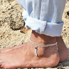 TBDress - TBDress Crystal Beads Feather Anklet - AdoreWe.com