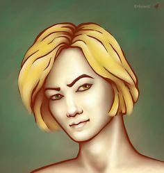 Green Tea Eyes by Erkuanti on DeviantArt #boy #portrait #blond #green #pic #picture #art #cg