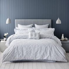 """A beautiful woven jacquard quilt cover with contrast faux silk base cloth in a soft blue baroque design. Coordinating european and matching standard pillowcases complete an elegant look from Mercer + Reid. In """"Cloud"""" colour from Adairs. Blue Bedroom Walls, White Bedroom, Master Bedroom, Blue Walls, Blue Feature Wall Bedroom, Bedroom Wall Lights, Blue Grey Rooms, Master Suite, Blue Bedrooms"""