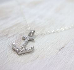 Sterling silver Anchor necklace pendant rhinestone anchor #nautical #anchor #sea #beach #spring #sailing #gift
