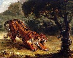 tigre `growling` à un serpent - (Eugène Delacroix)