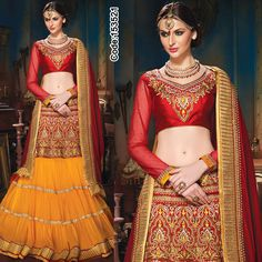 Yellow embellished #lehenga with #zari border, #red net duppatta teamed up with red and #golden designer blouse!    #Lehenga #Magenta #Blue #DesignerBlouse #FloralMotif #Volume #Layers #Embroidery #Designer #Occasion #IndianDresses #Partywears #Indian #Women #Bridalwear #Fashion #Fashionista #OnlineShopping