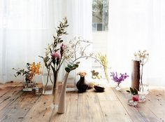 rustic floor / blank walls / oh-so-pretty things floating in a spartan space