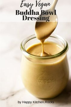 This vegan tahini dressing is the sauce you've been waiting for to drizzle over your vegan bowl to make it even more delicious. You can also use it on falafel, salads, or anything else you want a delightfully sweet and tart creamy vegan dressing for; this Buddha bowl dressing will make any plate more delicious. #tahinirecipe #healthyrecipe #vegetarian #glutenfree #healthyvegetarian   happykitchen.rocks Easy Appetizer Recipes, Gourmet Recipes, Whole Food Recipes, Vegetarian Recipes, Cooking Recipes, Healthy Recipes, Recipes With Tahini Vegan, Appetizers, Salad Recipes Vegan
