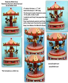 Pembroke Welsh Corgi Original Art sculpture Piece Music Carousel Valentine LyN