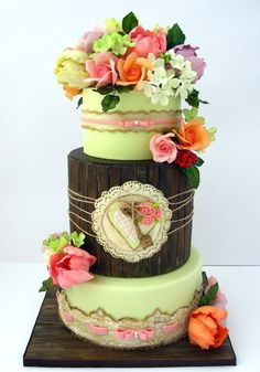 """Love Letters Straight From the Heart"" Wedding Cake"