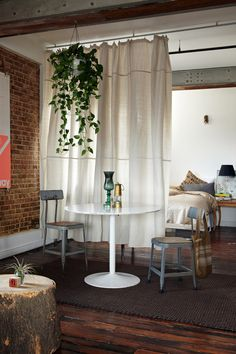 Hanging curtain as a room divider for creating a bedroom -- and a plant!