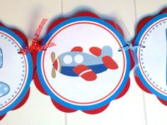 Airplane Baby Shower Banner -  ITS A BOY Party Sign - Airplane Theme Shower Decorations in Blue and Red. $23.50, via Etsy.