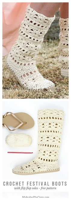 Crochet Patterns Ideas Crochet Coachella Boots with Flip Flop Soles Free Pattern - Crochet Slippers with Flip Flop Soles is an amazing idea. Flip flop soles are so comfortable and cost very less. The look of them are just brilliant. Crochet Slipper Pattern, Crochet Slippers, Crochet Patterns, Crochet Slipper Boots, Felted Slippers, Knitting Patterns, Flip Flop Boots, Flip Flop Slippers, Diy Crochet