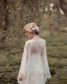 Long Sleeves Lace Woodland Wedding Dress