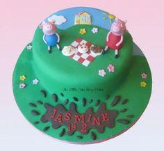 Peppa Pig and George picnic 2nd birthday cake www.littlecakefairydublin.com www.facebook.com/littlecakefairydublin
