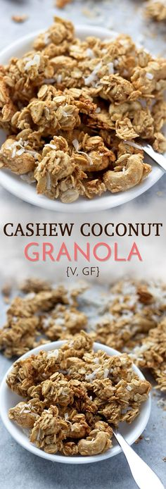 This easy granola recipe is full of crunchy cashew and coconut clusters! This he… This easy granola recipe is full of crunchy cashew and coconut clusters! This healthy granola is vegan, gluten free, and contains no added oil or refined sugar! Almond Granola Recipe, Easy Granola Recipe, Vegan Granola, Granola Clusters Recipe Healthy, Coconut Clusters Recipe, Gluten Free Granola, Granola Bars, Vegan Breakfast Recipes, Vegan Recipes