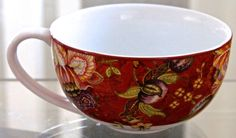 222 FIFTH GABRIELLE RED 20 OZ JUMBO PORCELAIN COFFEE SOUP MUG NEW FLORAL #222FIFTH