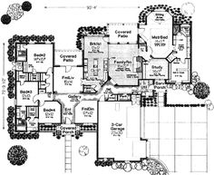 European Style House Plans - 3499 Square Foot Home , 1 Story, 4 Bedroom and 3 Bath, 3 Garage Stalls by Monster House Plans - Plan 8-718