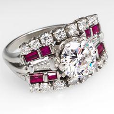 Vintage 2 Carat Diamond Engagement Ring 14K White Gold