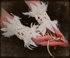 THEN and NOW  handmade cuffs by RattleTattleAround on Etsy, $120.00 Bridal Cuff, Jewelry Art, Unique Jewelry, Beaded Lace, Then And Now, Wearable Art, Beadwork, Hand Painted, Beads