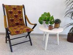 Antieke houten klapstoel geborduurd stoeltje vouwstoel stoel