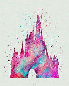 Beautiful Disney Castle watercolour art