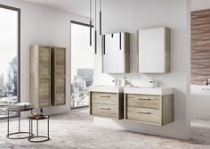 Our Atlantis range have some great wall hung vanity units - these sawn oak finish ones look lovely with matching tall storage units too! Rustic Vanity, Wood Vanity, Bathroom Furniture, Bathroom Interior, Single Vanity Units, Basin Vanity Unit, Bath Panel, Wall Mounted Vanity, Bath Linens