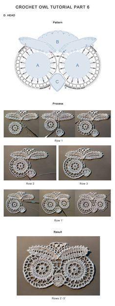 Crochet Owl Tutorial Part 6 by tasamajamarina on DeviantArt Owl Crochet Patterns, Crochet Snowflake Pattern, Crochet Birds, Crochet Snowflakes, Owl Patterns, Crochet Bear, Filet Crochet, Crochet Granny Square Afghan, Granny Squares