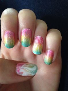 Gradient nails with water marble. A little time consuming but totally worth it!!!!
