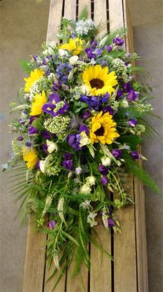 Sunflower and Purple Casket Spray