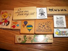 10 PCE. LOT OF SCRAPBOOKING CARD STAMPS FISH, CAT, COW,  BALOONS, FLOWERS