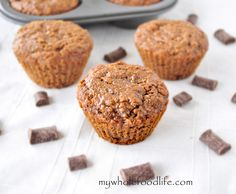 Gluten Free Gingerbread Chocolate Chip Muffins.  Super moist muffins bursting with gingerbread flavor and chocolate chunks.  Easy recipe.  Vegan and gluten free