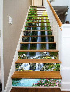 3D-Flowers-water-8-Stair-Risers-Decoration-Photo-Mural-Vinyl-Decal-Wallpaper-AU