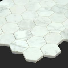 Bianco Carrara marble 2 inches Polished Marble Honey Comb Mosaic Tile allmarbletiles.com #allmarbletiles