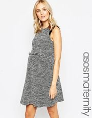 ASOS Maternity Skater Dress In Cut And Sew With Fringe Trim
