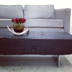 "BNCH01 | reclaimed barn beam stained ebony w/ custom chrome base |                                 Dimension: 60""L x 13""W x 14""H"