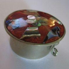 Abalone Shell Alpaca Silver From Mexico Trinket Pill Snuff Box