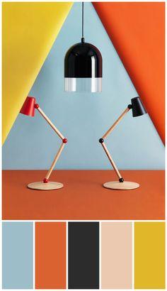 Image © Carl Kleiner / CarlKleiner.com .... Desk lamps / lights and bold muted brights / ochre, duck egg blue, dark grey, nude, rust colour palette