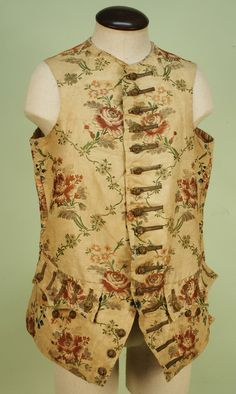 Waistcoat, 18th century. Cream faille silk with a meandering floral brocade in pink, blue, green and silver.
