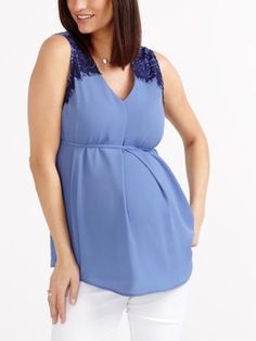 Shop online for Stork & Babe - Sleeveless Maternity Blouse with Lace. Find Blouses, Tops, Maternity and more at Thyme Fall Maternity Outfits, Maternity Gowns, Stylish Maternity, Pregnancy Outfits, Maternity Fashion, Burgundy Evening Dress, Clothes For Pregnant Women, Pregnancy Looks, Cool Summer Outfits