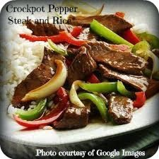 Easy Entertaining With Heather Crockpot Pepper Steak and Rice Recipe ... 2lbs beef sirloin, cut into strips -Garlic powder -Vegetable oil -1 beef bullion cube -1/4 cup hot water -1 small onion, chopped -2 large bell peppers, chopped -3 Tbs. soy sauce -1 tsp. sugar -1 tsp. salt Cook on low 4-6 hours or high 2-3 ... serve over rice ♥