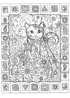 cat abstract doodle zentangle zendoodle paisley coloring pages colouring adult