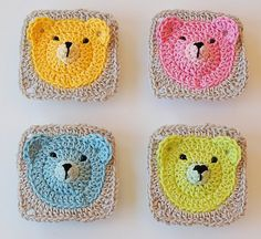"""Teddy Bear Granny Square for """"baby blankets, pillows, garlands, Pincushions, whatever you want. Have fun with this pattern!""""  - Free Pattern and tutorial from Dada's place."""