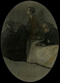 """Xavier Gosé Rovira (1876-1915). """"Gente de suburbio"""". Carbón, pastel aguada sobre papel. 32 x 22 cm. Colección Arturo Ramón. Barcelona. España."""
