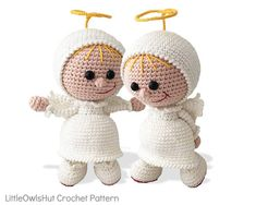 177 Crochet Pattern - Girl Doll in an Angel outfit - Amigurumi PDF file by Stelmakhova Etsy