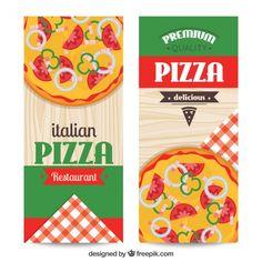 Set de banners de restaurante italiano  Vector Gratis