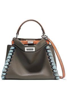 FENDI Peekaboo Mini Elaphe-Trimmed Leather Shoulder Bag. #fendi #bags #shoulder bags #leather #