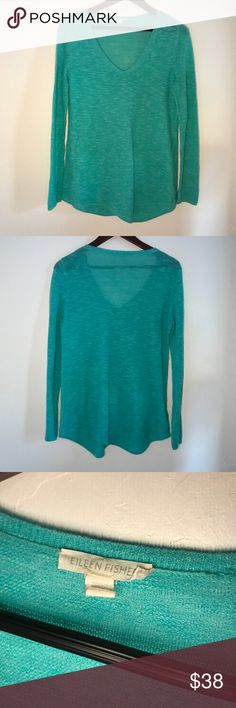 Eileen Fisher Linen blend asymmetrical v neck top In excellent condition this gorgeous and super comfy top is perfect with jeans.  It's light weight and can be layered.   C1 Eileen Fisher Tops